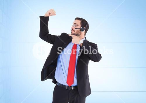 Composite image of Travel agent showing his muscles against blue background