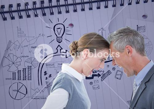 Composite image of Business People head-to-head against graph wall paper