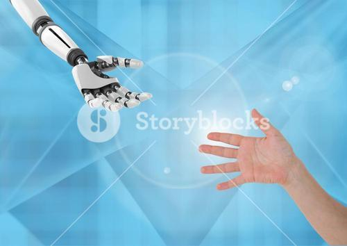 Composite image of robot Hand Helping human hand against blue background
