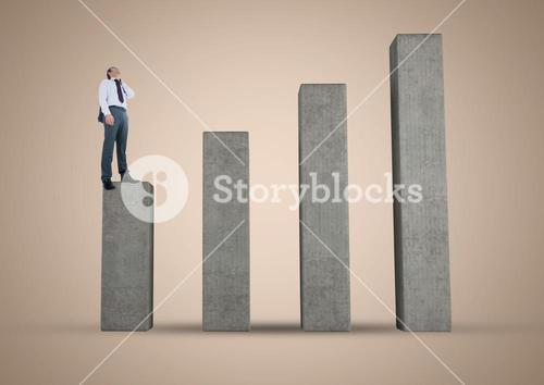 Composite image of Businessman on graph post against beige background