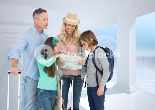 Composite image of parents and children looking at map against white place