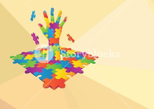 Composite image of colored puzzle Hand icon against yellow background