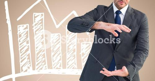 Composite image of Businessman gesturing and Standing in Front Of Graph