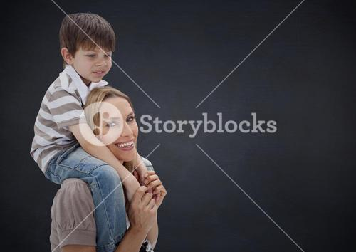 Composite image of parent carrying her child against neutral background