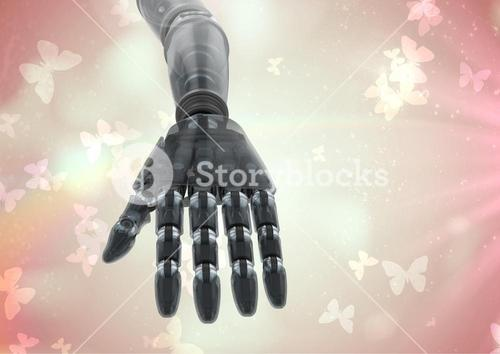 Composite image of Robot hand against Butterflies background
