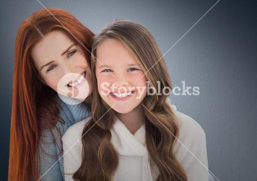 Composite image of a lovely girl with her mom against neutral background