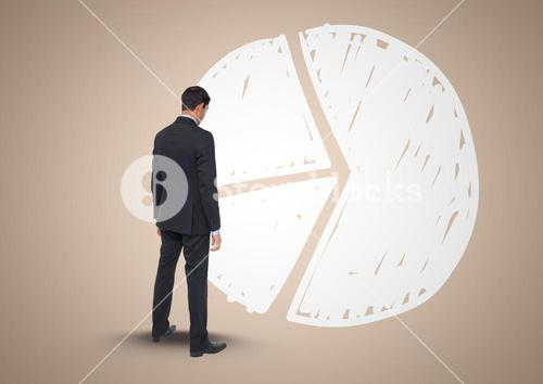 Composite image of Businessman Standing and looking at Graph against beige background
