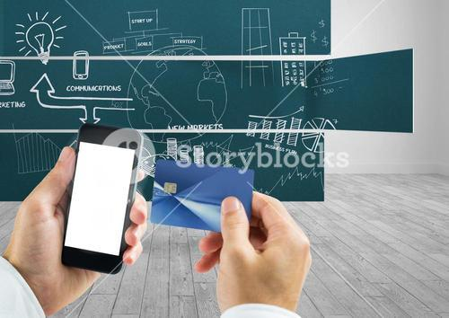 Composite image of Hands holding cell Phone and Bank Card against blackboard with Ideas