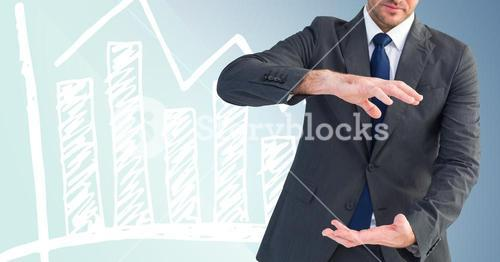 Composite image of Businessman gesturing against graph on blue background
