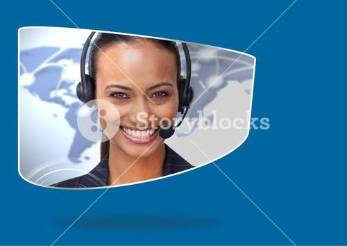 Composite image of Travel agent smiling against blue background