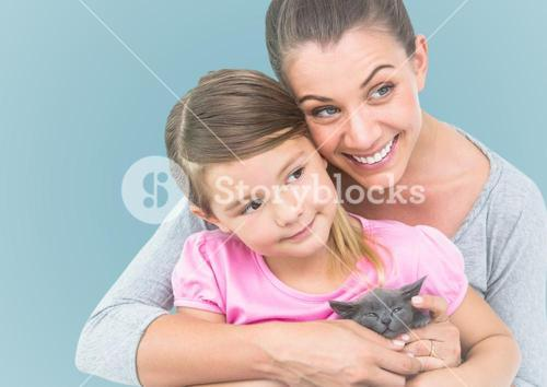 Composite image of mother embracing her daughter agaist neutral background