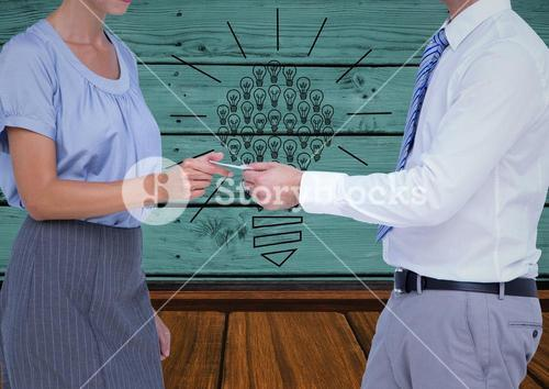 Composite image of Business people trading calling card against green wood wall with sketches