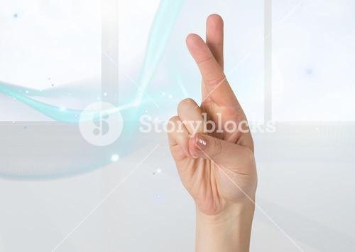 Composite image of crossed fingers against white background