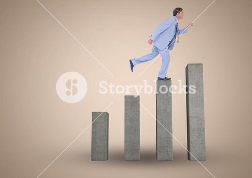 Composite image of Businessman climbing on graph post against beige background