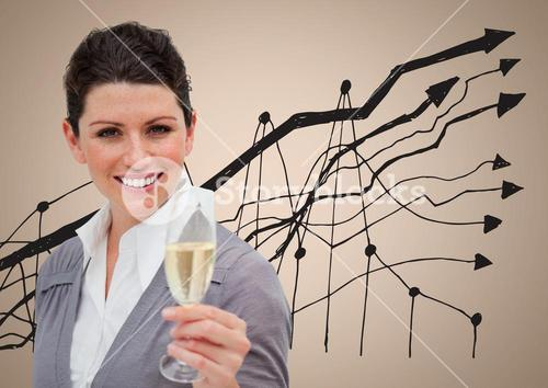 Composite image of Business woman showing her champagne glass against graph on beige background