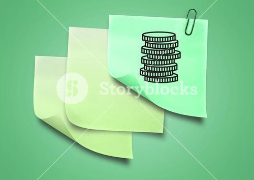 Composite image of green Sticky Note with Money Coins Icon