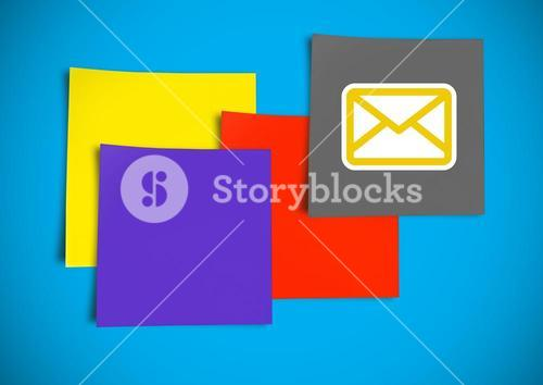 Composite image of colored Sticky Note with Email icon against blue background