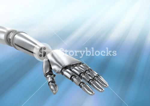 Composite image of Robot hand against blue background