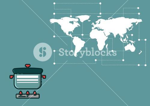 Composite image of cooking pot against world map on blue background