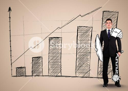 Businessman with an Armour Standing in front of Graph against neutral background