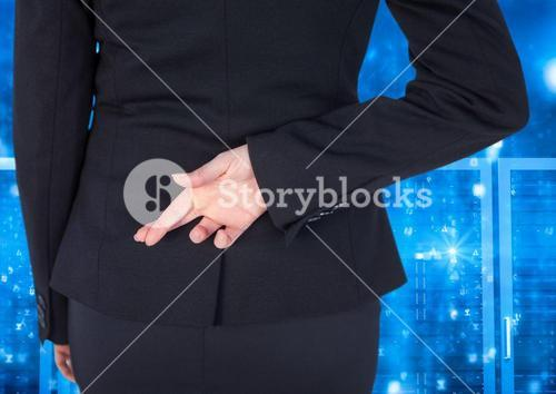 Businessman Standing Crossing her fingers and looking at Graphic against a blue background