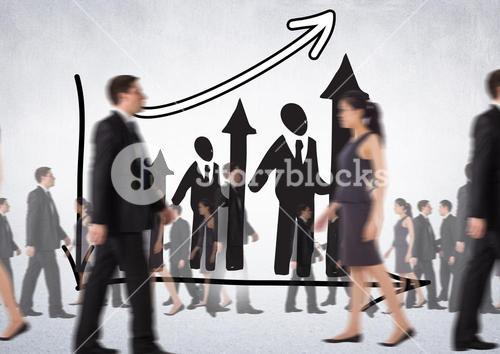 Business People Walking in front of Graph against a grey bakcground