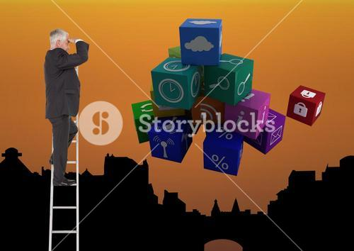Businessman on a Ladder looking at the future against an orange city background