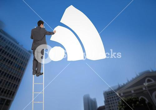 Businessman on a Ladder with white icon against a city landscape background