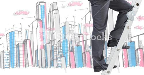 Businessman on a Ladder against a city background