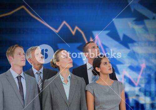 Business Team Standing in front of Graph against blue background