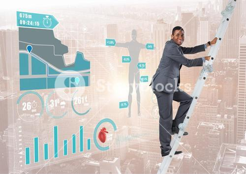 Businessman climbing on a Ladder against a neutral city background