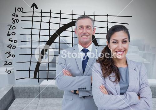 Business Team Standing in front of Graph against grey background