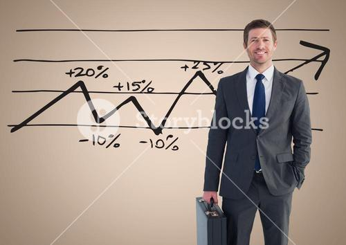 Businessman Standing in front of Graph against a neutral background
