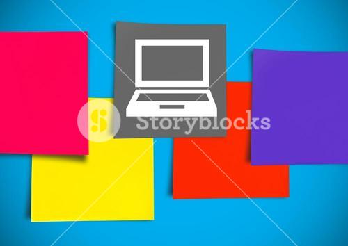 Sticky Note Laptop Computer icon against blue background