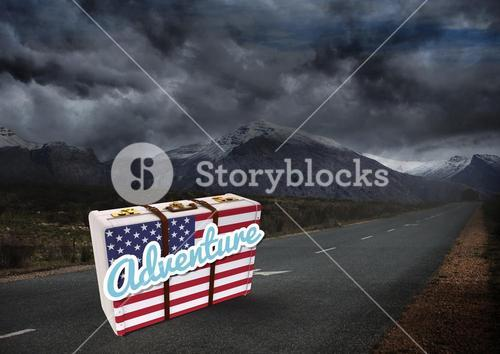 American Flag Luggage against dark moutain background