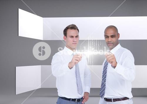 Two businessmen interacting against a grey background