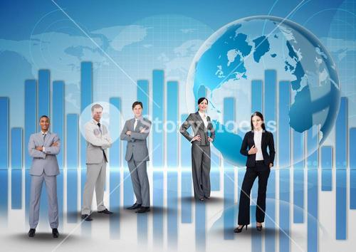 Businessmen Standing in front of Graph against blue background