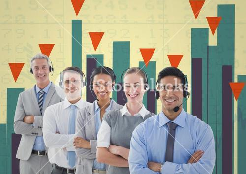 Business Team Standing in front of Graph against colorful background