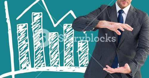 Businessman Standing in front of Graph against blue background