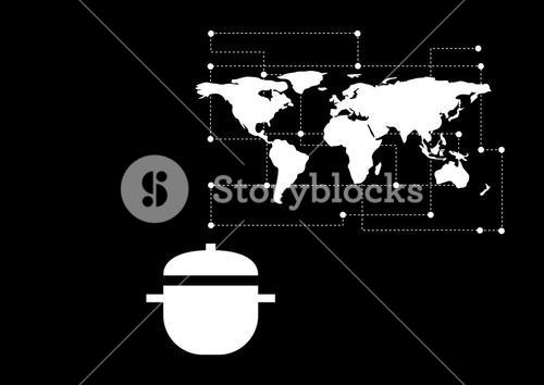 Composite Image of Food Cook Pot against a earth map black background