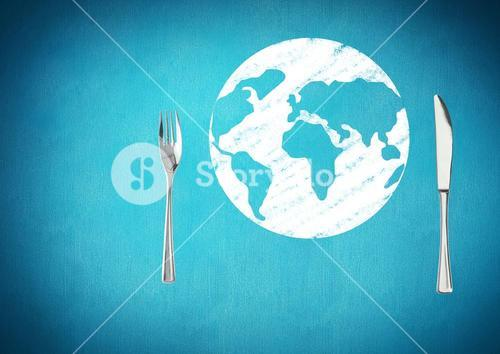 Composite image of kitchen utensils against earth map blue background