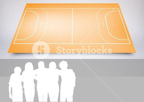 Kids Team Sport Playing Field composite against a grey background