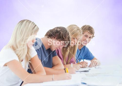Group of students studying against a purple background