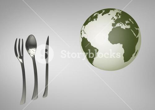 Composite image of globe next kitchen utensils against grey background