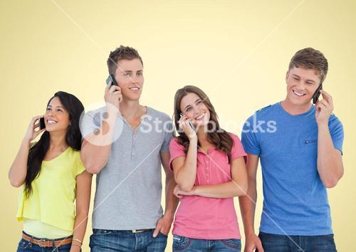 People using Phones against yellow background