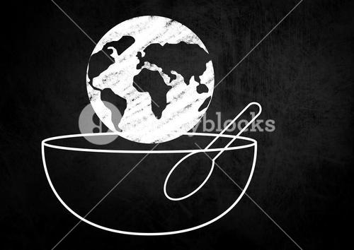 Composite image of a globe on a Food Bowl with Spoon against a black background