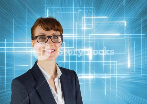 Happy Businesswoman smiling at camera against a blue background
