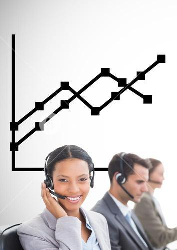 Business Team using headsets against graph against neutral background