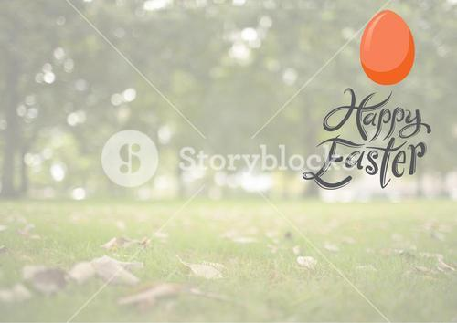 Happy Easter Egg Hunt against a field background