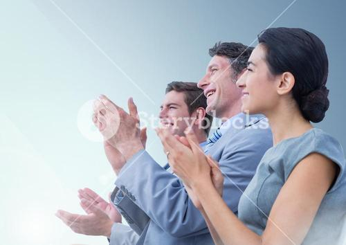 Group of People Clapping in their hands against a light blue background